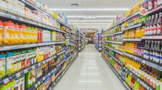 BANGKOK, THAILAND - MARCH 16,2017 : Aisle view of a MAXVALU SUPERMARKET on FEB 24,2017.  MAXVALU SUPERMARKET is Supermarkets are open 24 hours